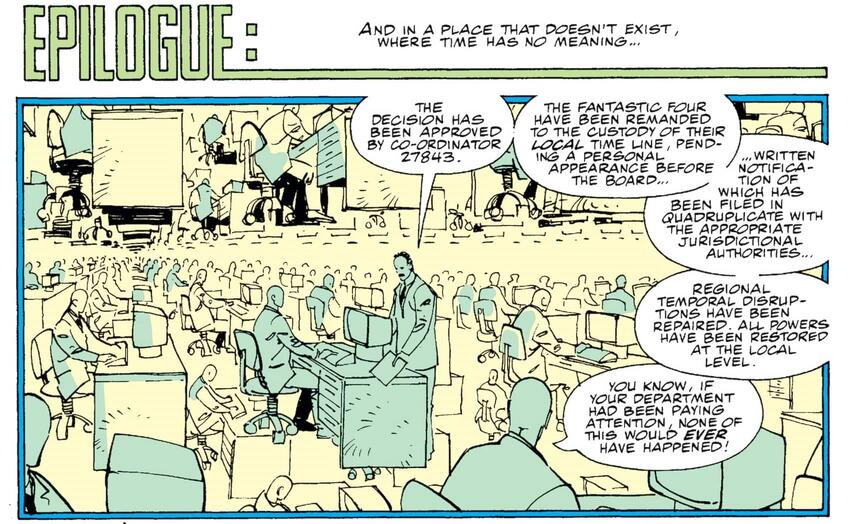 The Chronomonitors hard at work in FANTASTIC FOUR (1961) #346.