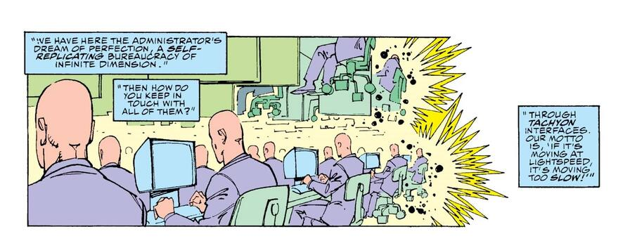 The Chronomonitors hard at work in FANTASTIC FOUR (1961) #353.
