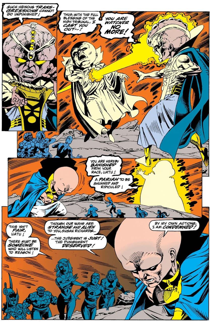 Uatu versus Aron in FANTASTIC FOUR (1961) #400.