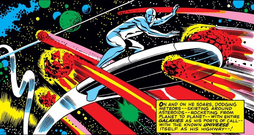 The SIlver Surfer's first apperance against a swirling, cosmic backdrop.