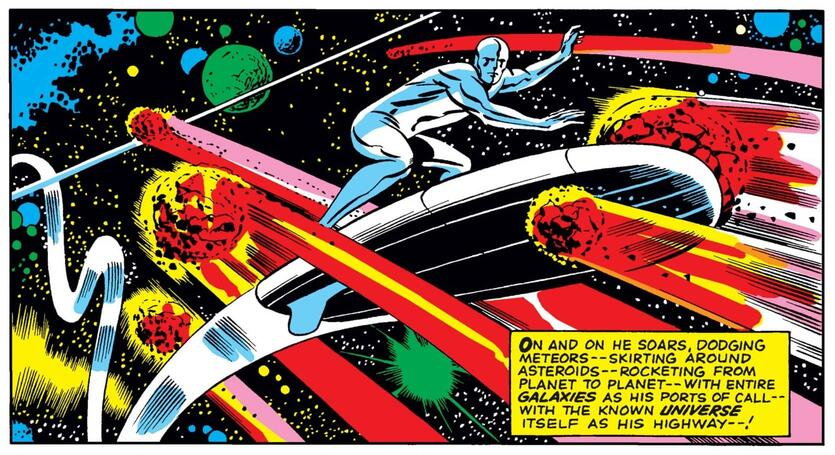 The first appearance of the Silver Surfer in FANTASTIC FOUR (1961) #48.