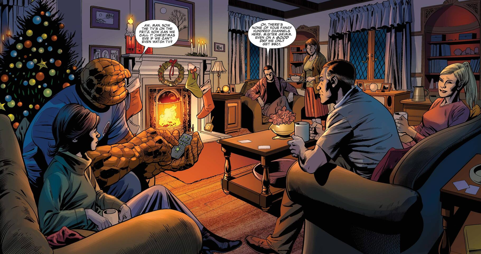 The Fantastic Four gather round the fire in a cozy holiday scene.