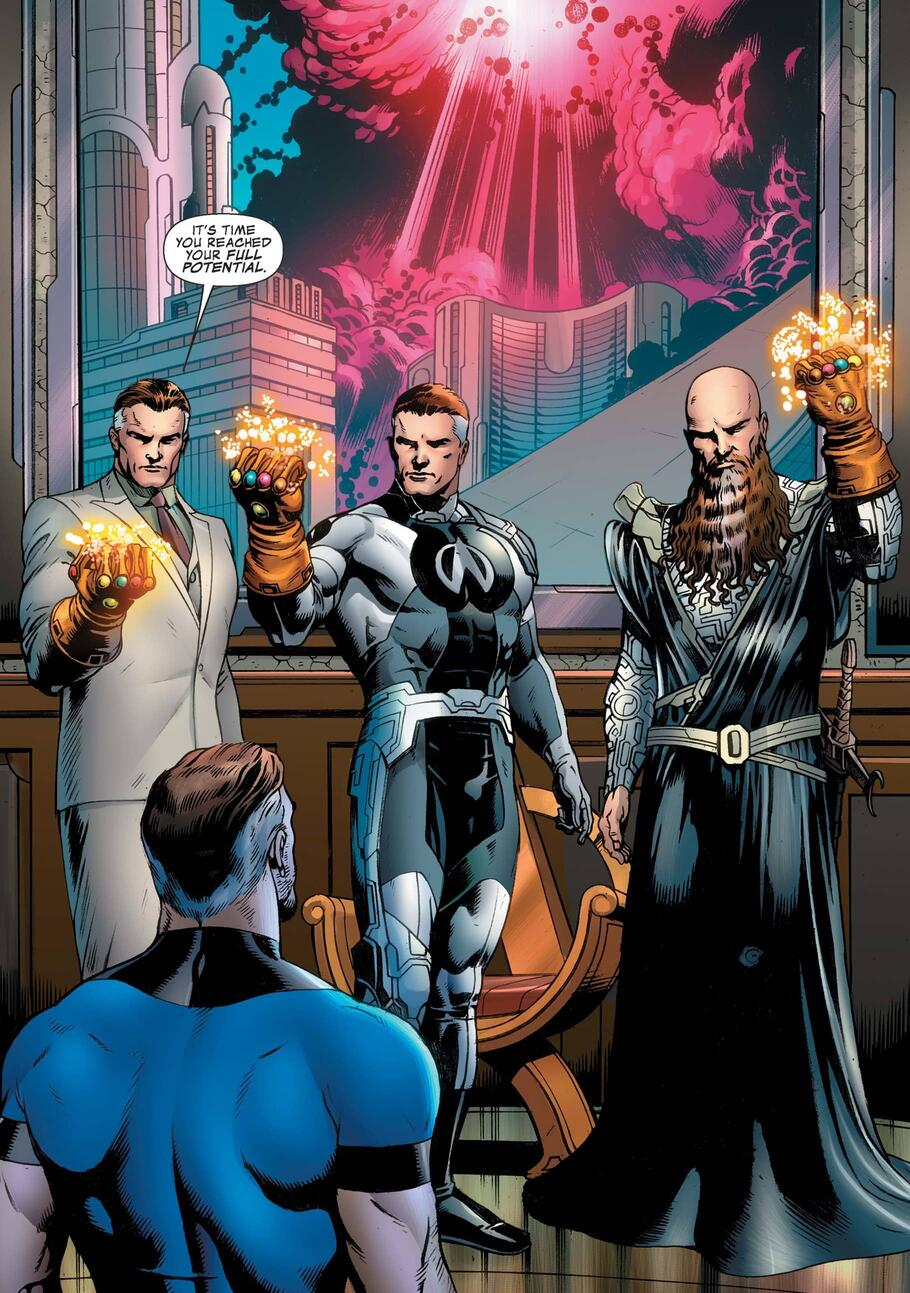 Reed Richards confronts his Multiverse counterparts, all wearing Infinity Gauntlets.