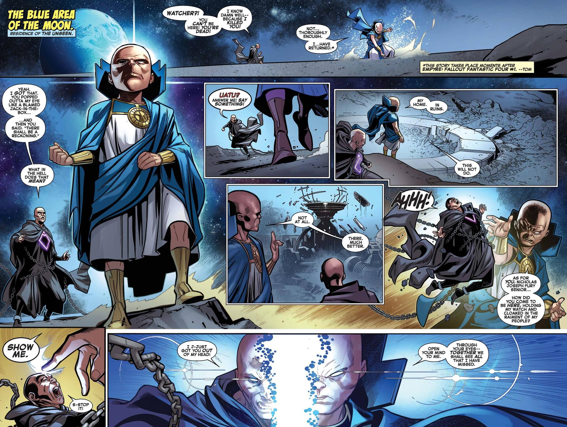 Uatu is resurrected and appoints Nick Fury in FANTASTIC FOUR (2018) #25.