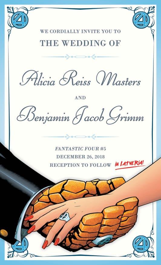 Ben Grimm and Alicia Masters wedding invitation