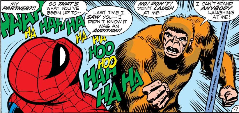 Gibbon humiliated by Spider-Man