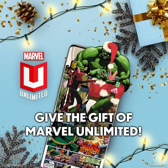 Hulk and Spider-Man celebrating Christmas on a mobile device.
