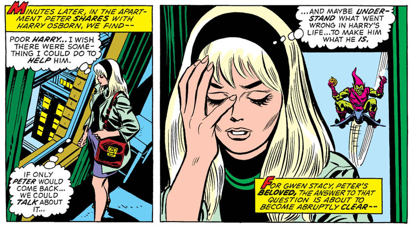Gwen Stacy stalked by Green Goblin