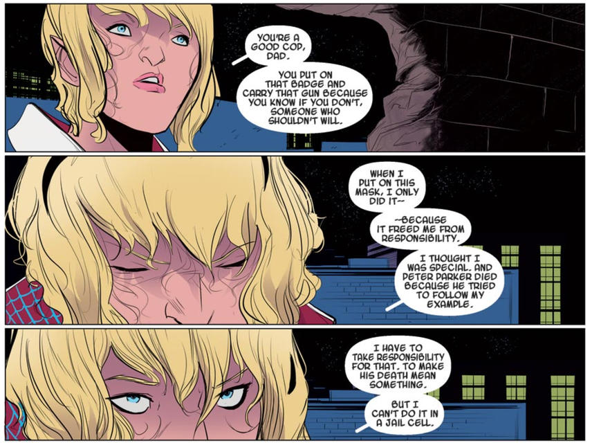 Gwen Stacy reveals herself to her father as Spider-Woman
