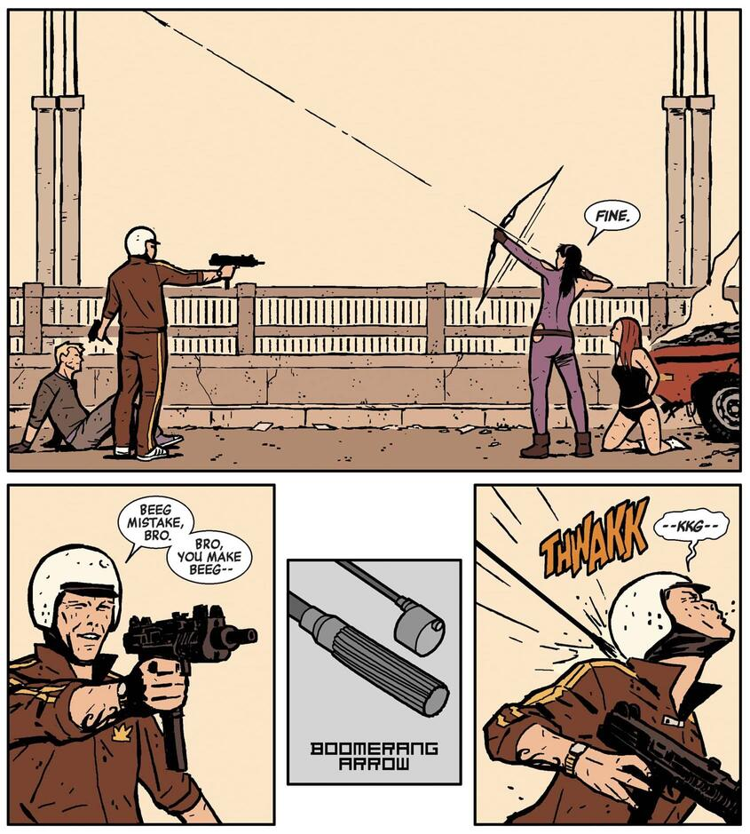 Hawkeye (2012) #3 featuring the Boomerang arrow trick.