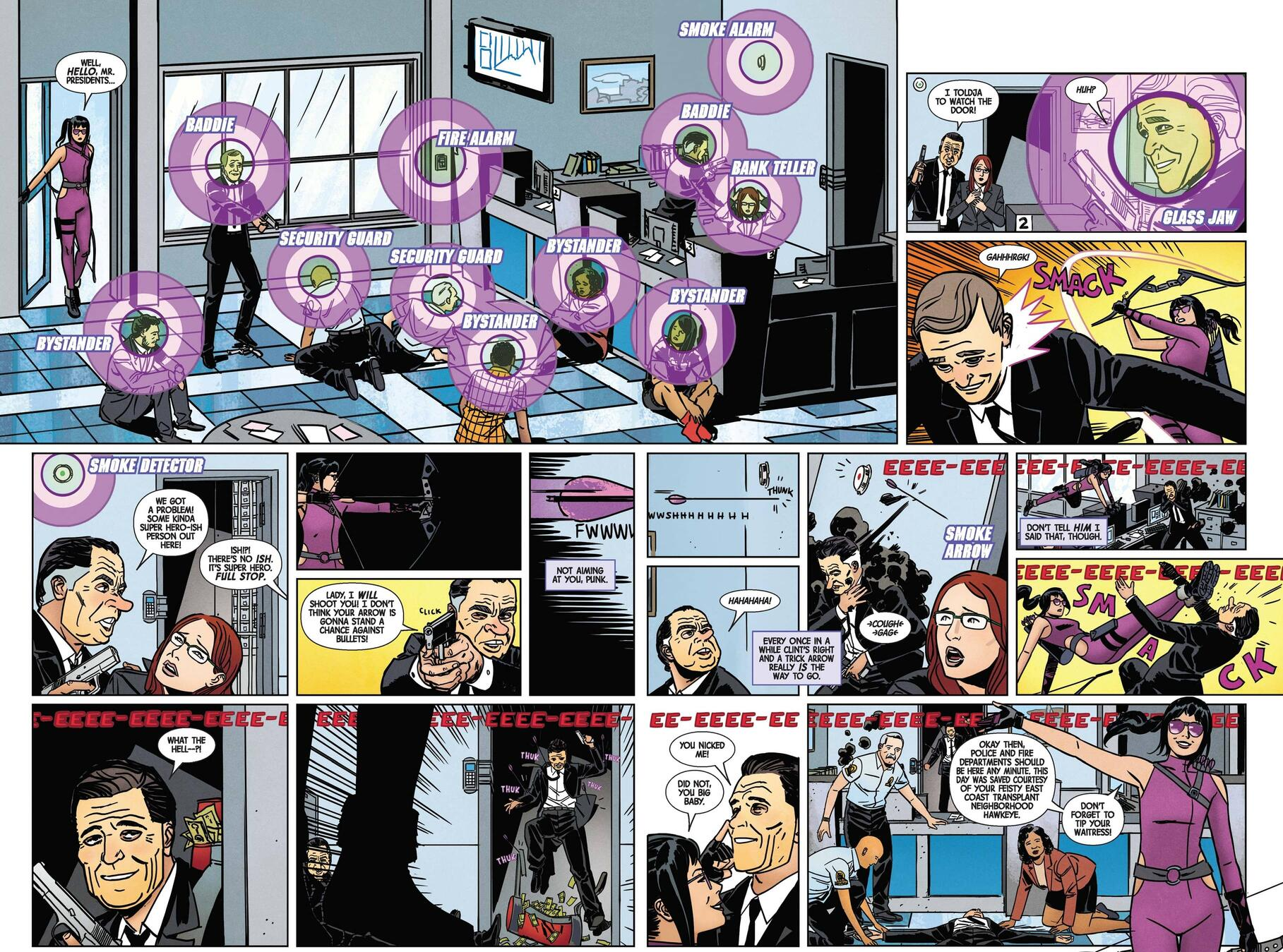 Kate cuts down crooks in styles from HAWKEYE (2016) #1.