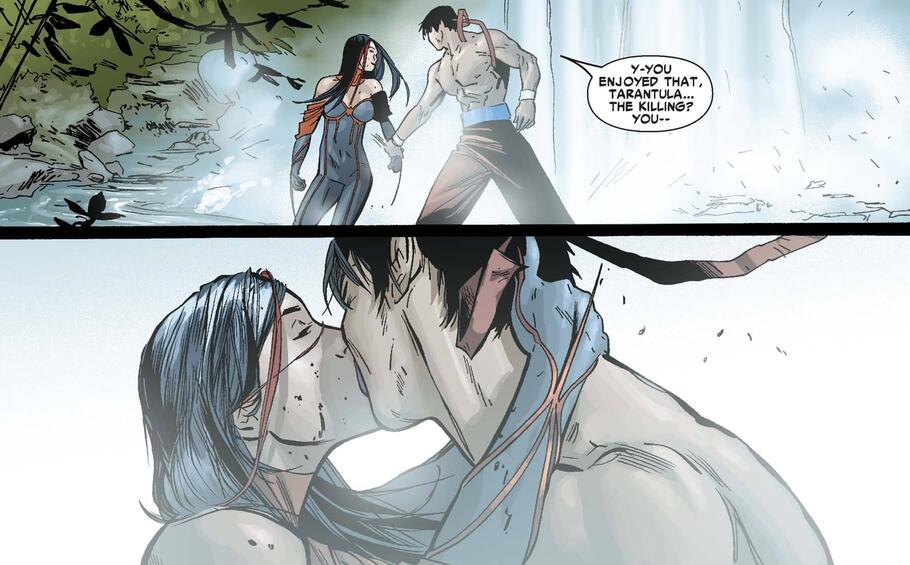 Shang-Chi and Tarantula share a kiss in the Savage Land.