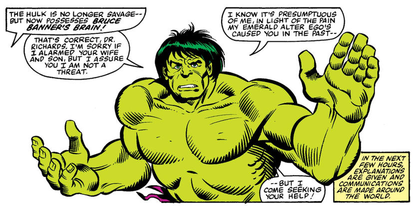 Hulk asks FF for help