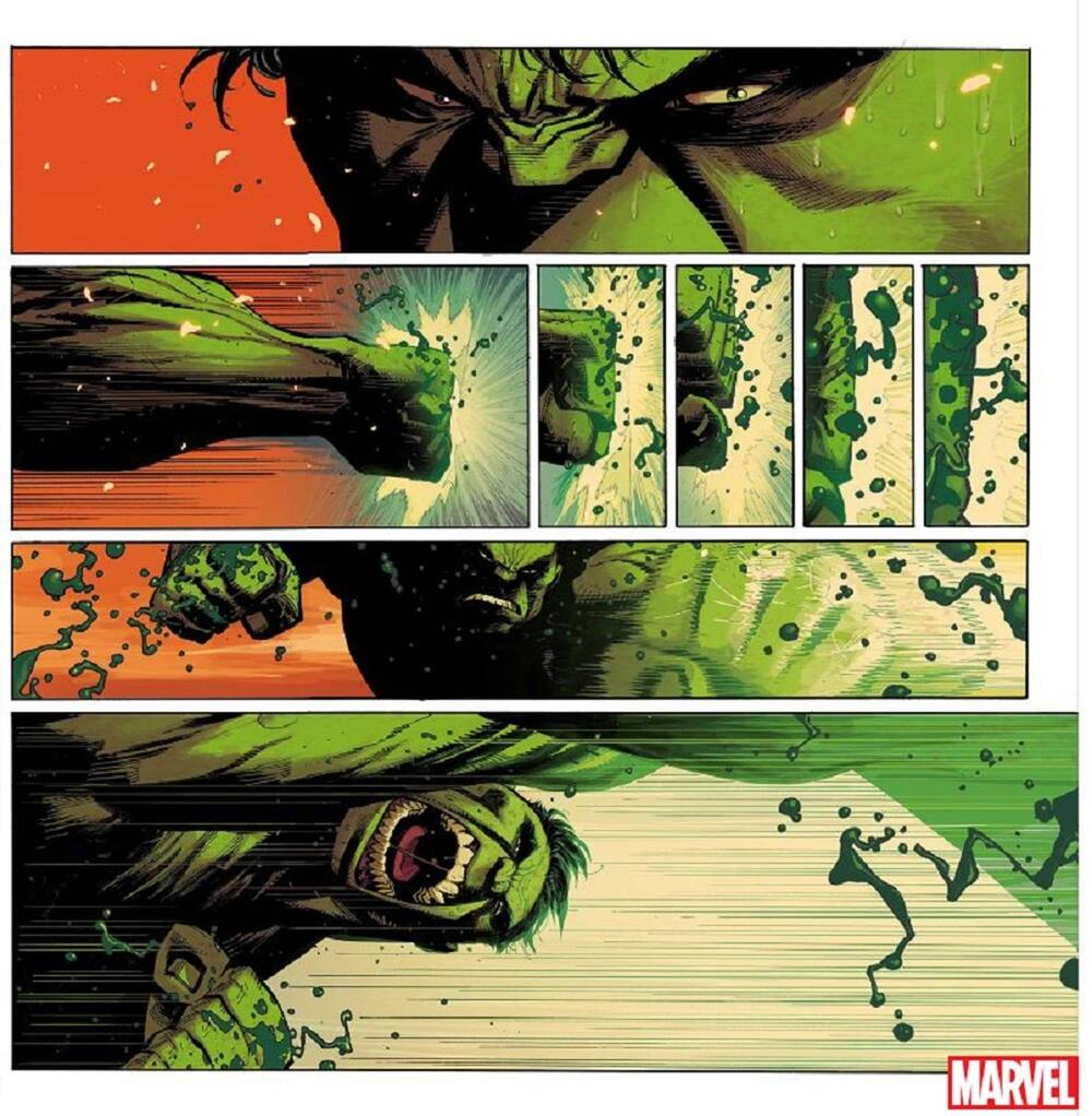 Preview page from HULK (2021) #1 with art by Ryan Ottley and colors by Frank Martin.
