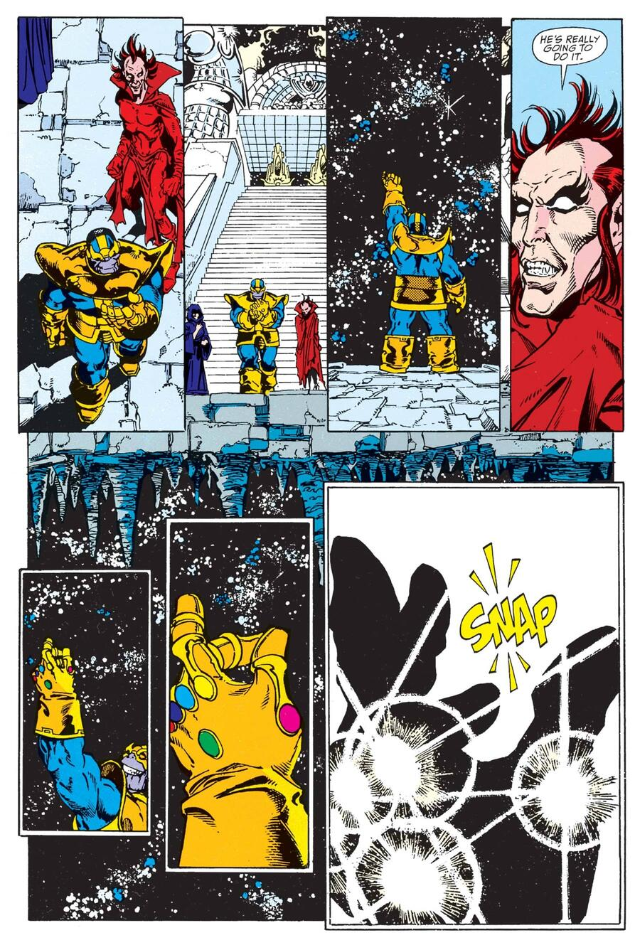 Thanos' famous snap in INFINITY GAUNTLET #1.