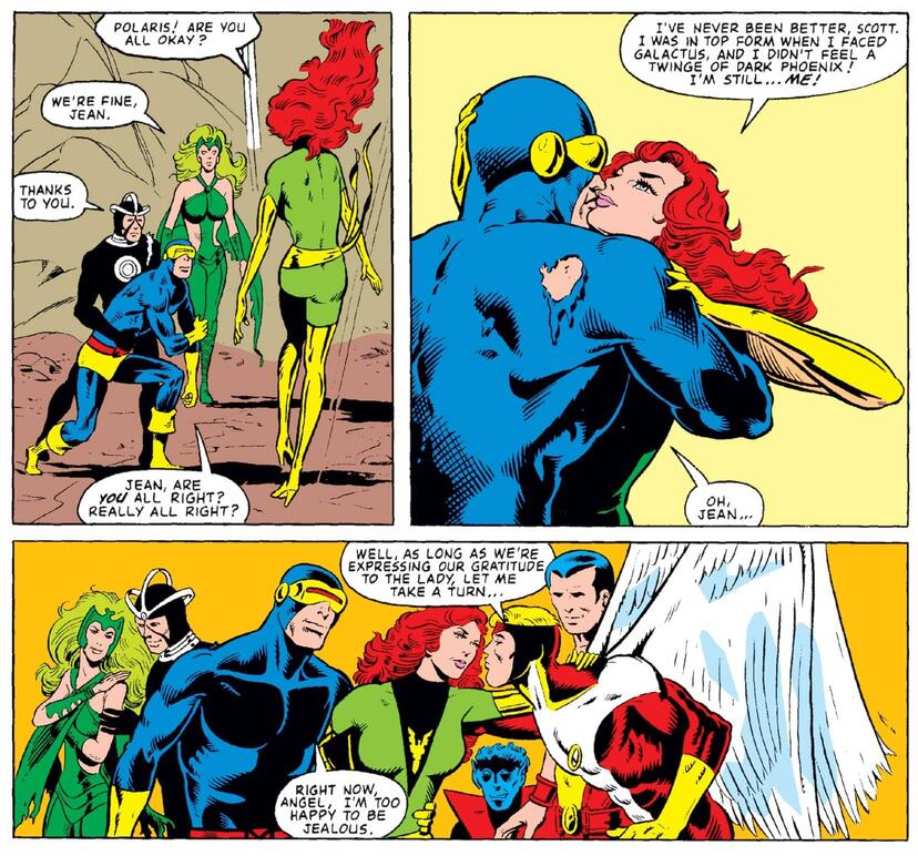 Jean Grey is reunited with Cyclops without the Phoenix Force in tow.