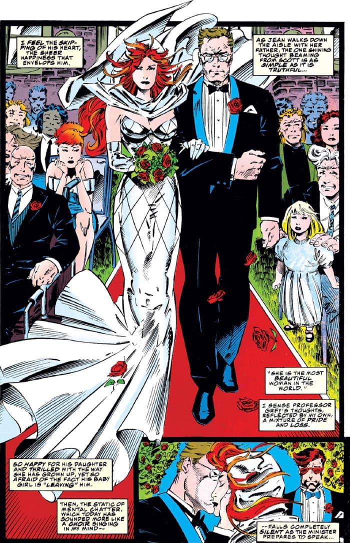 Jean Grey walks down the aisle in X-MEN (1991) #30.