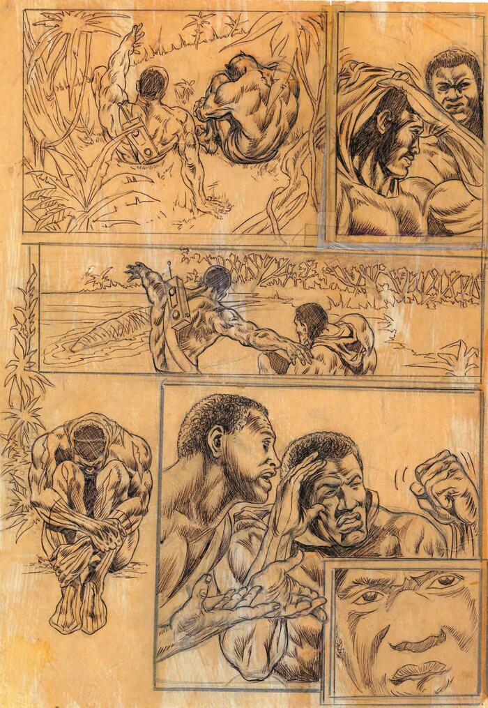 Pencils from JUNGLE ACTION #10 by Billy Graham. Courtesy of Don McGregor.