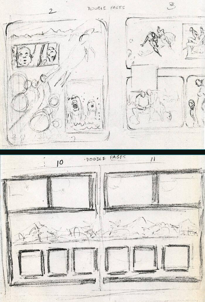 Layouts from JUNGLE ACTION #16 and #17 by Billy Graham. Courtesy of Don McGregor