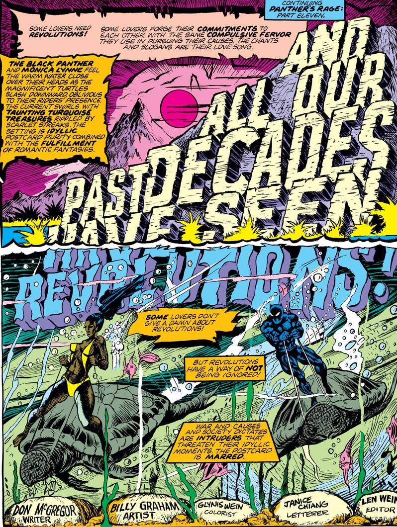 Interior from JUNGLE ACTION (1972) #16. Script by Don McGregor with pencils by Billy Graham.