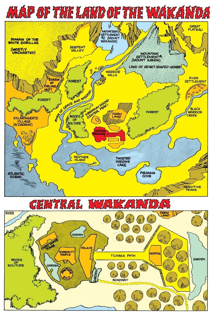 Maps of Wakanda from JUNGLE ACTION (1972) #6.