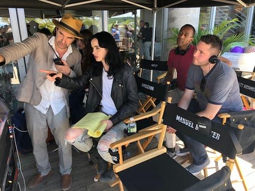 Krysten Ritter on the set of Jessica Jones
