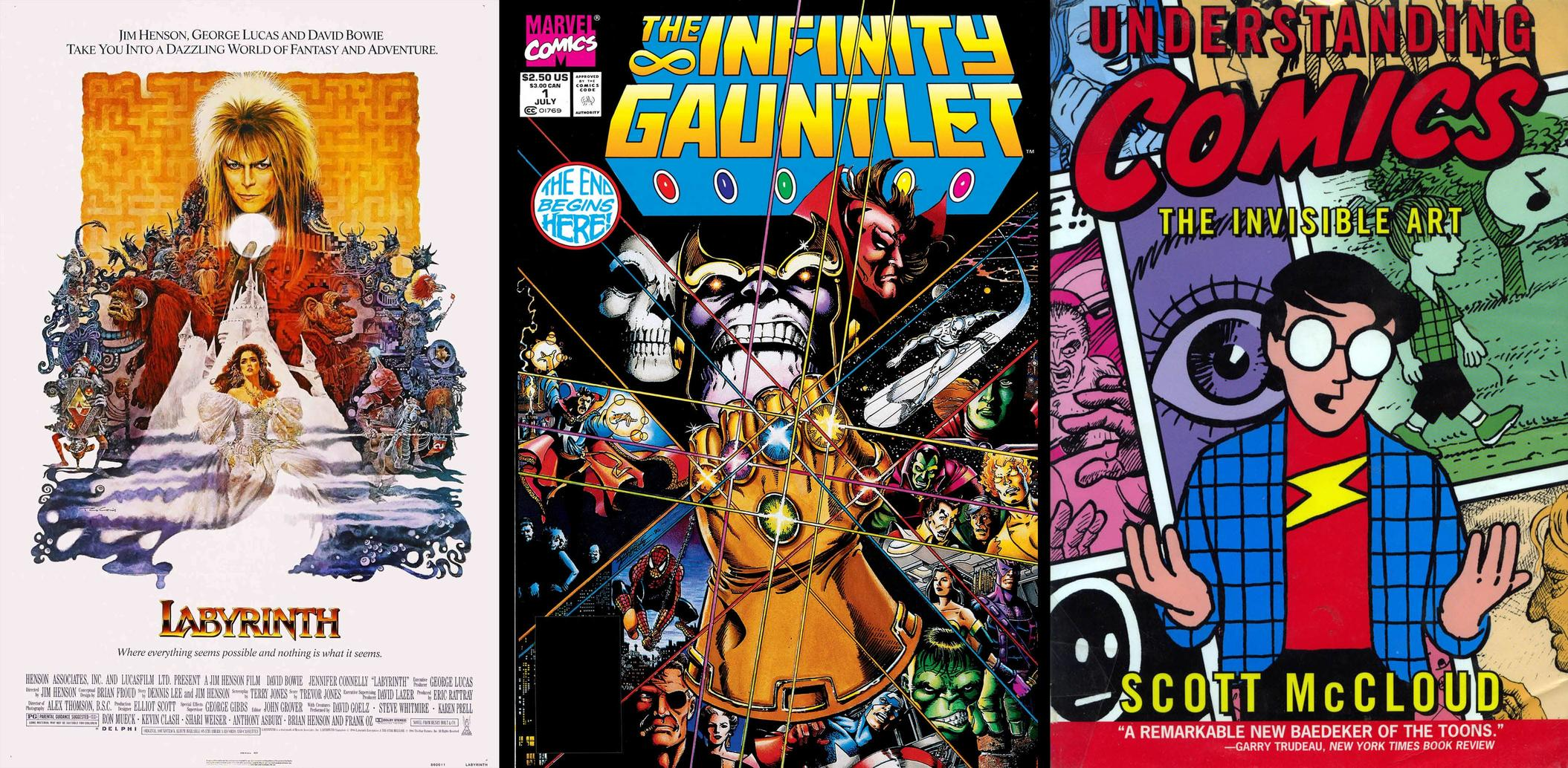 Labyrinth poster, Infinity Gauntlet, Scott McCloud's Understanding Comics