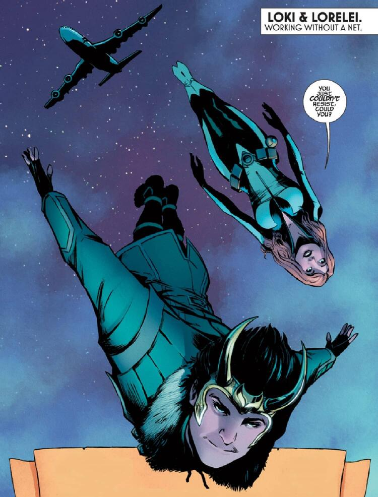 Loki skydives with a partner in LOKI: AGENT OF ASGARD (2014) #5.