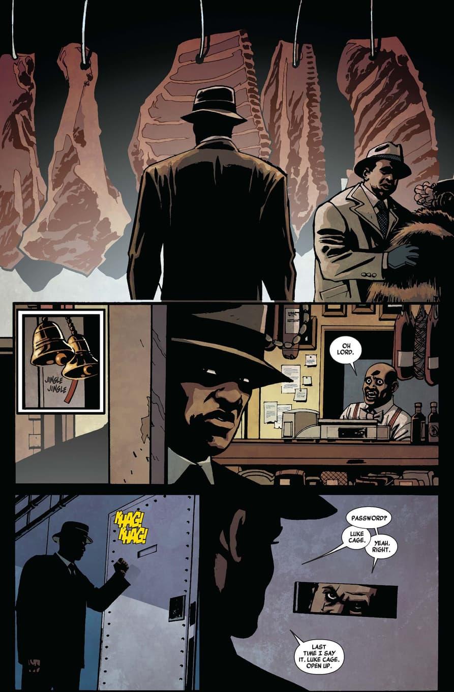 Luke Cage at a speakeasy in LUKE CAGE NOIR (2009) #1.