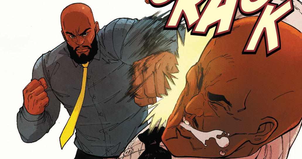 Luke Cage punches a guy