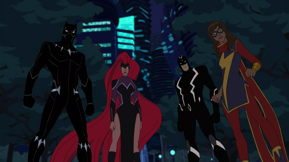 Black Panther, Medusa, Black Bolt, and Ms. Marvel in Marvel's Avengers: Black Panther's Quest