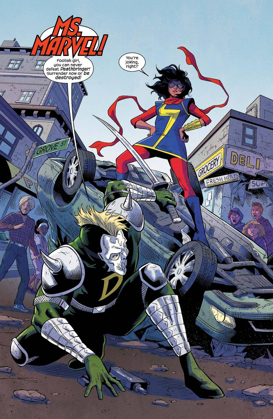 Taking on the baddies in MAGNIFICENT MS. MARVEL (2019) #1.