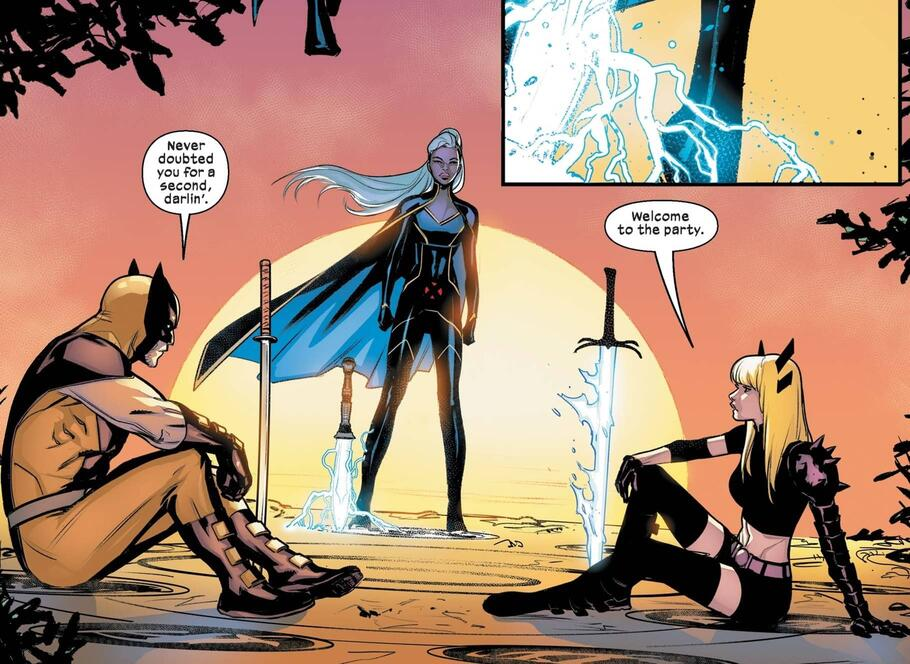 Storm, Wolverine, and Magik await the other contestants.