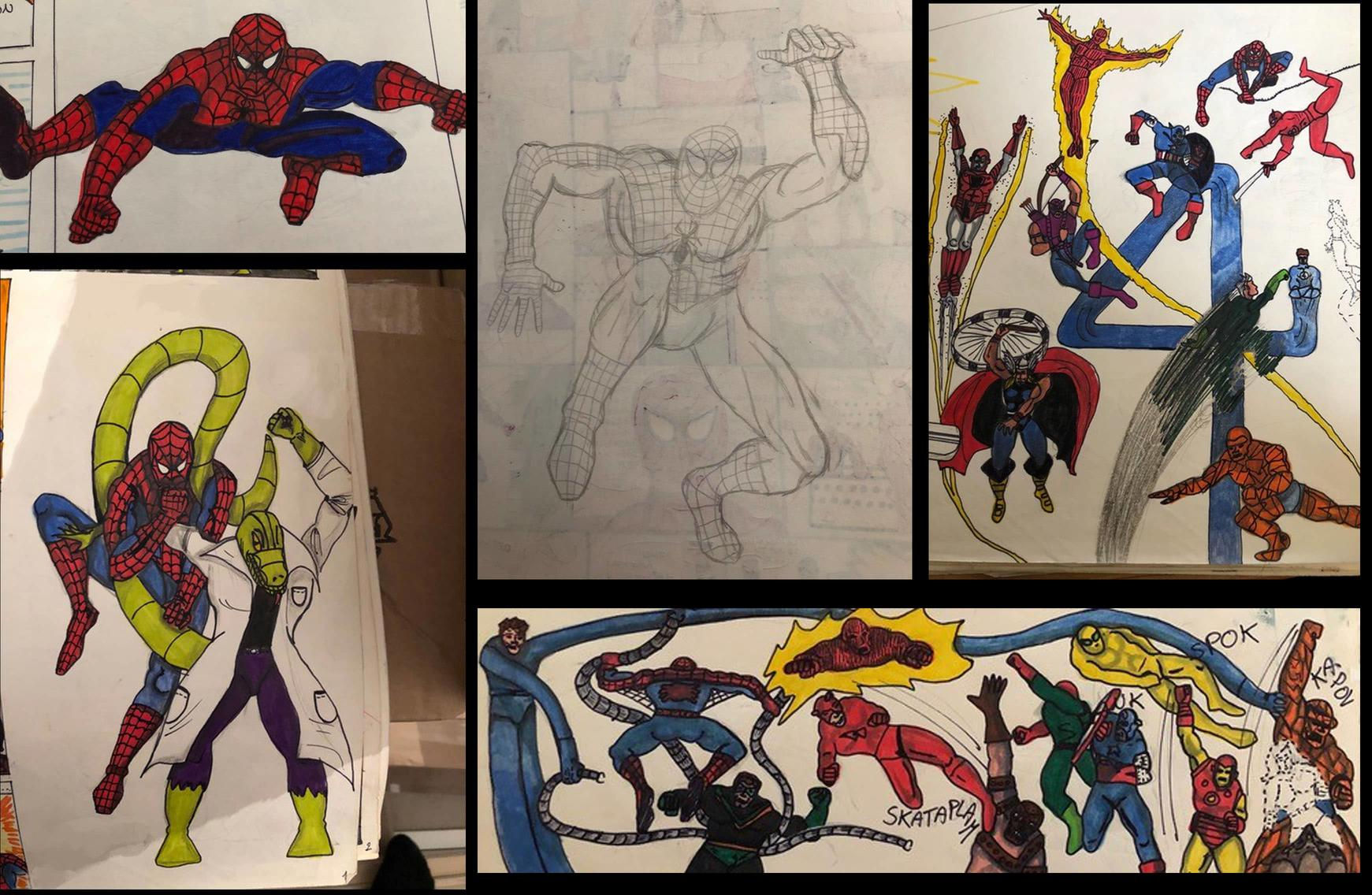 Marco Checchetto childhood Spider-Man drawings