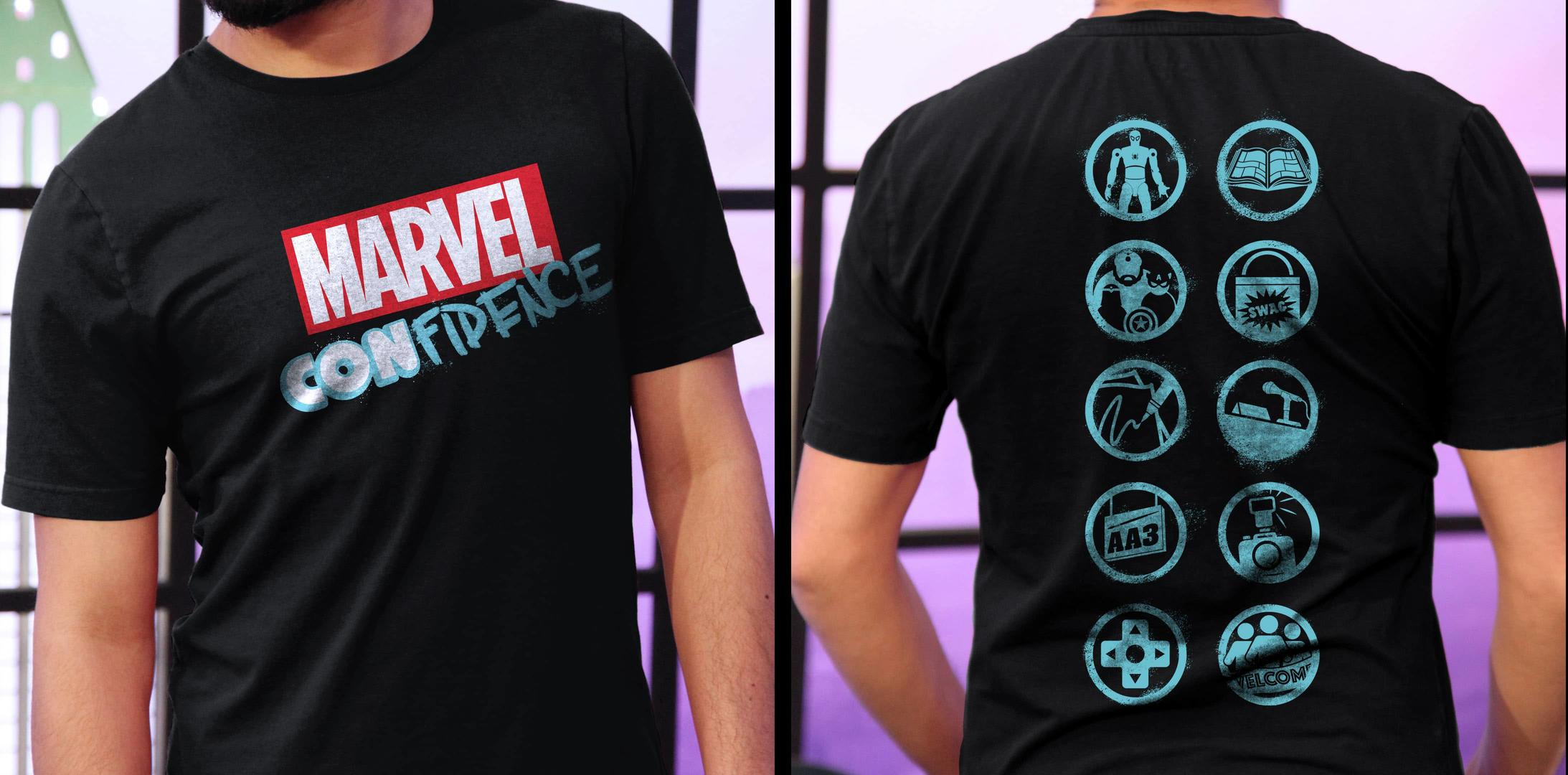 Marvel Con-fidence shirt front and back