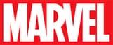 Red Marvel logo on black background