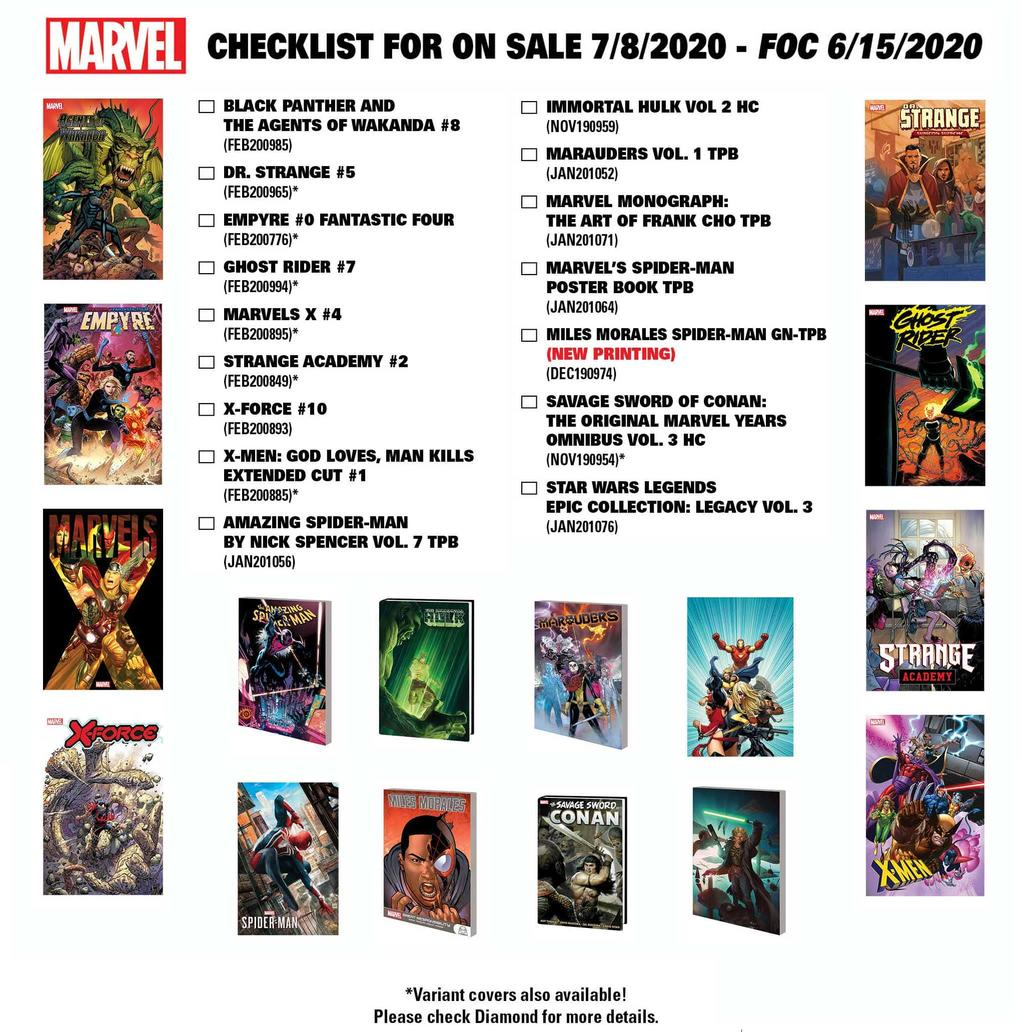 Marvel comics and collections arriving July 8