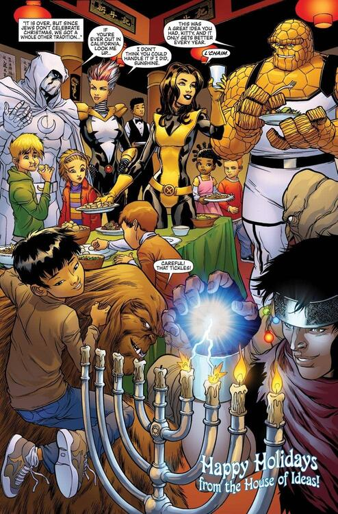 A handful of heroes celebrate Hanukah with a group of children.