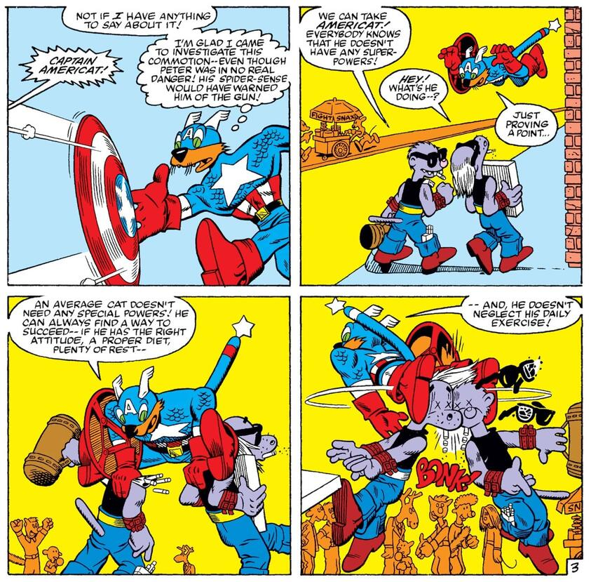 Captain Americat saves the day in MARVEL TAILS STARRING PETER PORKER, THE SPECTACULAR SPIDER-HAM (1983) #1.