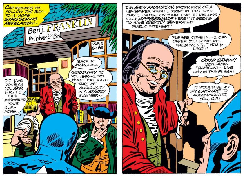 A very special guest star in MARVEL TREASURY SPECIAL: CAPTAIN AMERICA'S BICENTENNIAL BATTLES (1976) #1.
