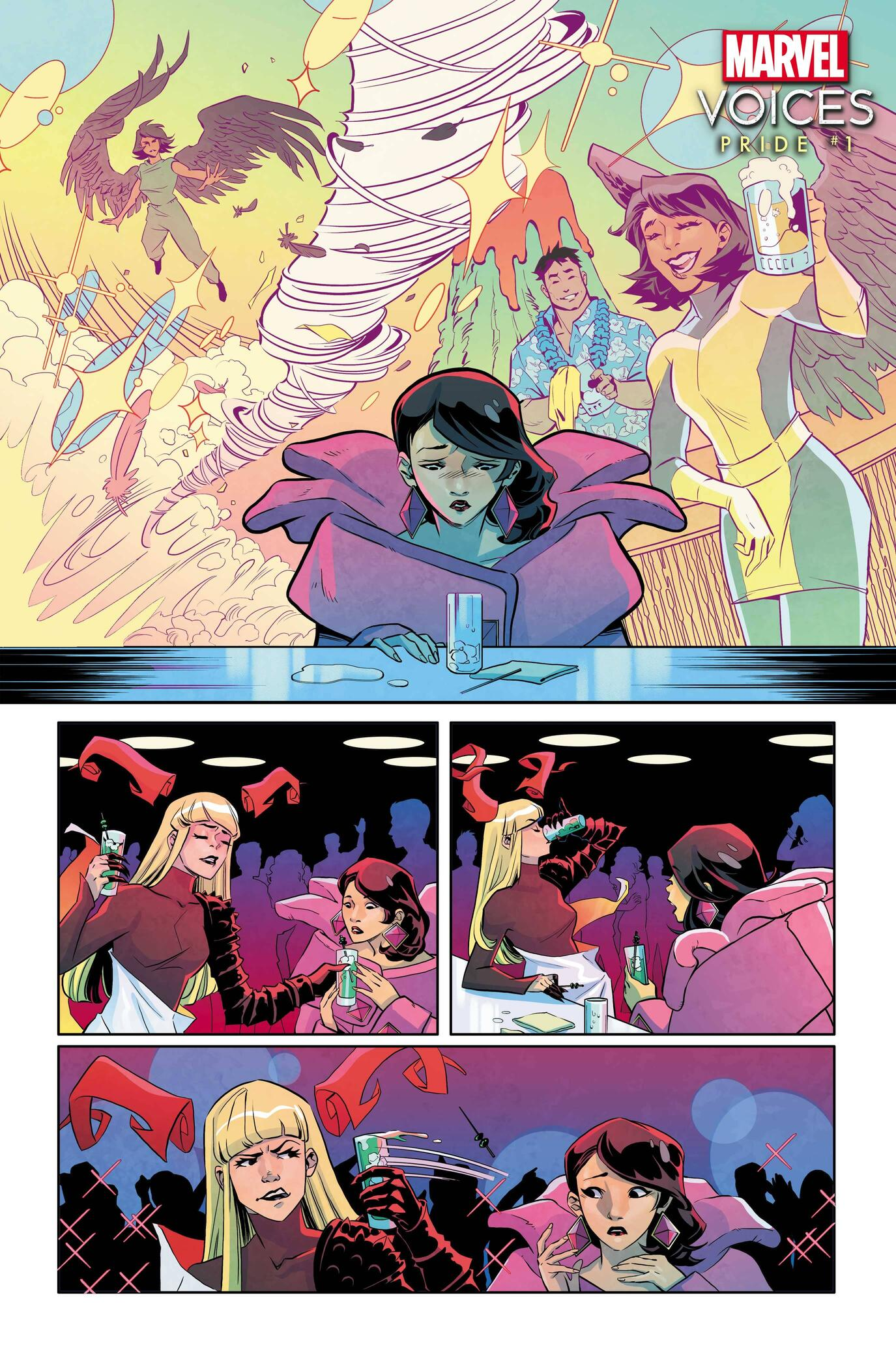 MARVEL'S VOICES: PRIDE #1 preview art by Joanna Estep, layouts by Brittney Williams, colors by Brittany Peer
