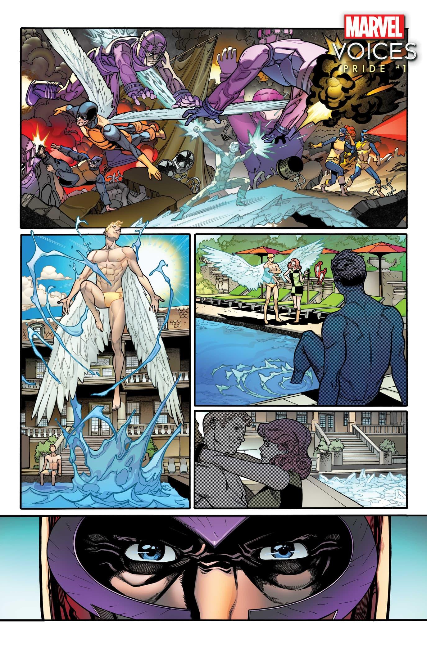 MARVEL'S VOICES: PRIDE #1 preview art by Javier Garrón, colors by David Curiel