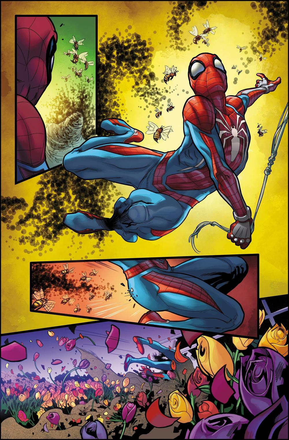 MARVEL'S SPIDER-MAN: VELOCITY #1 pencils by Emilio Laiso with colors by Rachelle Rosenberg