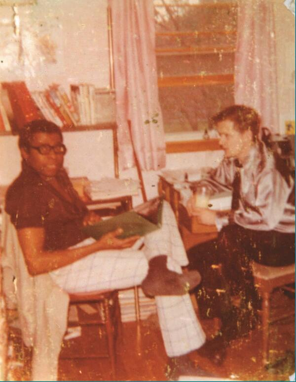 """Courtesy of Don McGregor: Graham and McGregor collaborating four years prior to """"Panther's Rage"""" at McGregor's home in Rhode Island."""