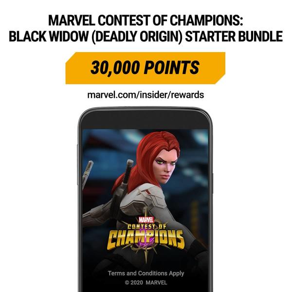 Marvel Insider Featured Reward: Marvel Contest of Champions: Black Widow (Deadly Origin) Starter Bundle