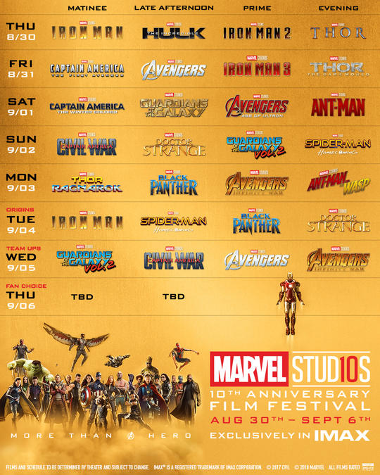 Marvel 10 Schedule