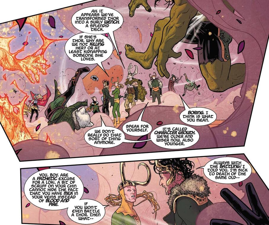 The Legion of Lokis fight back against Jane Foster: Thor in MIGHTY THOR (2015) #3.