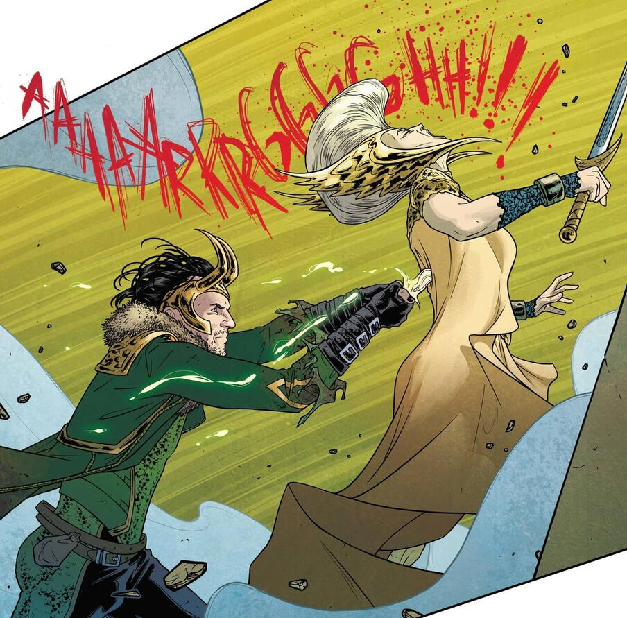 Loki stabbing Freyja in the actual back.