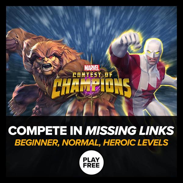 Marvel Insider Marvel Contest of Champions Missing Links Tournament Beginner Normal Heroic Levels Play Free