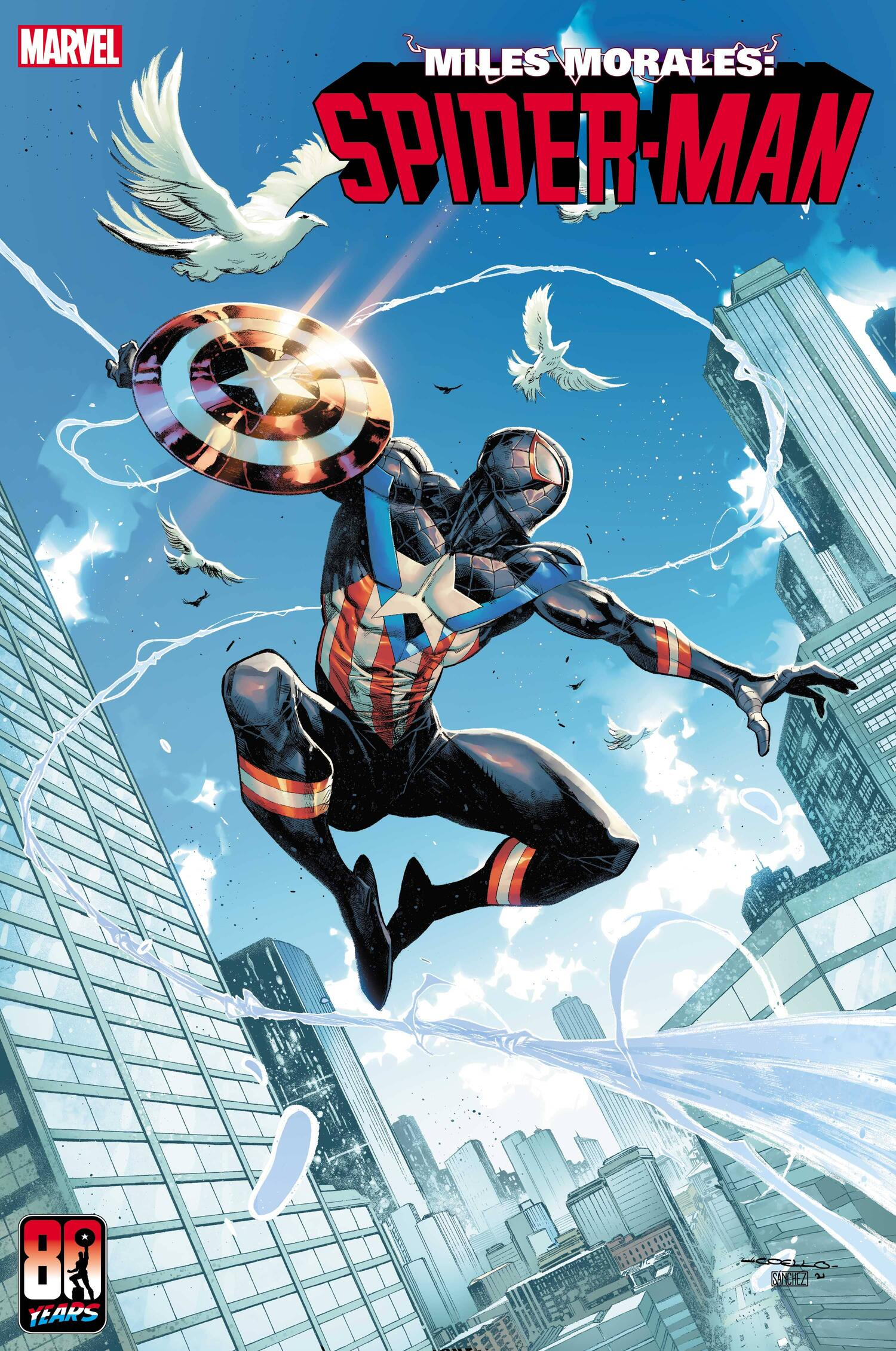 MILES MORALES: SPIDER-MAN #28 CAPTAIN AMERICA 80TH VARIANT COVER by IBAN COELLO & ALEJANDRO SÀNCHEZ